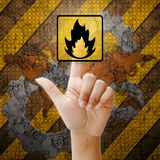 Hand press touch fire symbol Stock Image