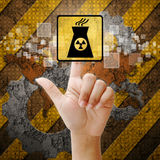 Hand press touch Nuclear power symbol Stock Photography