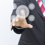 The hand presses the button Royalty Free Stock Photos