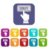 Hand presses button to donate icons set Royalty Free Stock Photos
