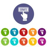 Hand presses button to donate set icons Royalty Free Stock Photography