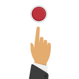Hand presses the button. Vector illustration hand pressing red button, top view.Pressing finger on red button. Push button concept in flat style. Press button Stock Photos