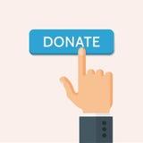Hand Presses Donate Button Vector Illustration Stock Photo