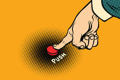 The hand presses red button. Comic cartoon style pop art illustration Stock Image