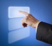 Hand pressing abstract button on touchscreen Stock Photos