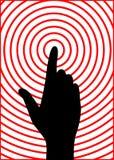 Hand pressing alarm button, vector. Black color hand silhouette, pressing alarm button, vector Royalty Free Stock Photos