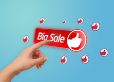 Hand pressing BIG SALE button Stock Photography
