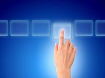 Hand pressing a button. stock photos