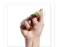 Hand pressing button Stock Images