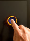Hand pressing a button with index finger. Extended on touchpad Stock Photo