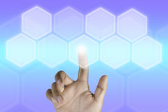 Hand pressing button with technology background Royalty Free Stock Photos