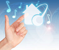 Free Hand Pressing Digital Button HOME MUSIC Stock Photo - 18798780