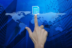 Hand pressing document icon over map and city tower, Elements of Stock Photos