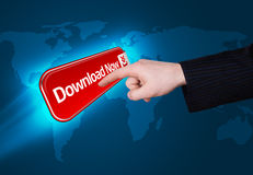 Hand pressing download now button Royalty Free Stock Images