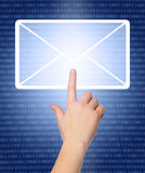 Hand pressing e-mail sign Stock Photo