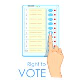 Hand pressing Electronic Voting Machine Royalty Free Stock Image