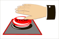 A hand pressing the emergency button Royalty Free Stock Photography