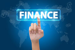 Hand pressing finance button Stock Image