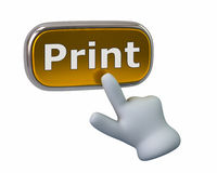 Hand pressing golden print button. Isolated on white background Royalty Free Stock Photography