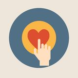 Hand pressing like ( heart ) button flat design vector illustration Royalty Free Stock Image