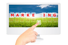 Hand pressing marketing word for business concept. Royalty Free Stock Photo