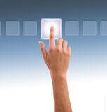 Hand pressing one of the options Stock Images