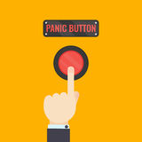 Hand pressing panic button. Businessman pressing panic button on yellow background. Social media button. Start up business concept. Vector illustration of a red Royalty Free Stock Photography