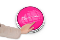 Hand pressing pink button for breast cancer awareness Stock Images