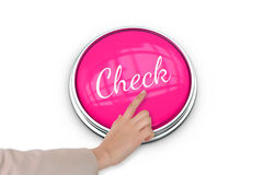 Hand pressing pink button for breast cancer awareness Stock Photography