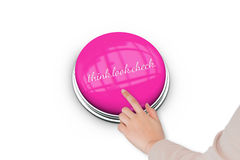 Hand pressing pink button for breast cancer awareness Royalty Free Stock Photo