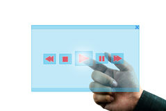 Hand pressing play button Royalty Free Stock Photography