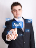 Hand pressing profit button Stock Photos