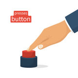 Hand pressing red button. Push finger. Vector illustration flat design. Isolated on white background Stock Photography