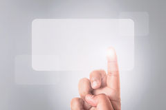 Hand pressing screen button Stock Images