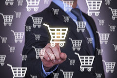 Hand Pressing Shopping Cart Royalty Free Stock Photos
