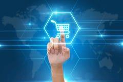 Hand pressing shopping cart icon Stock Photo
