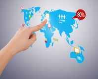 Hand pressing social media button on digital map Royalty Free Stock Photos