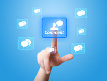Hand pressing Social Network icon 2 Stock Photos