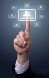 Hand pressing Social Network icon Stock Photos