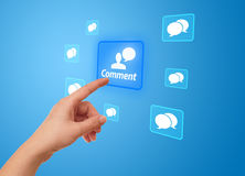 Hand pressing social network icon Royalty Free Stock Photo