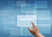 Hand pressing Social network and virtual touch screen Stock Images