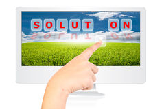 Free Hand Pressing Solution Word For Business Concept. Royalty Free Stock Photos - 20809828