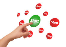 Hand pressing Start button. Woman hand pressing START button Royalty Free Stock Photography