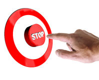 Hand pressing a stop button Royalty Free Stock Photography