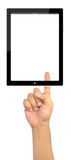 Hand pressing touch pad PC isolated. Advanced business button choice choose click stock photography