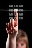 Hand pressing touch screen interface Royalty Free Stock Photo