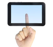 Hand pressing touchpad PC Stock Photography