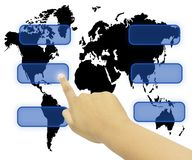 Hand pressing touchscreen world wide Royalty Free Stock Photo