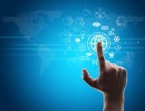 Hand pressing virtual button Stock Photos