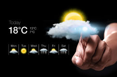 Hand pressing virtual weather icon Royalty Free Stock Photography